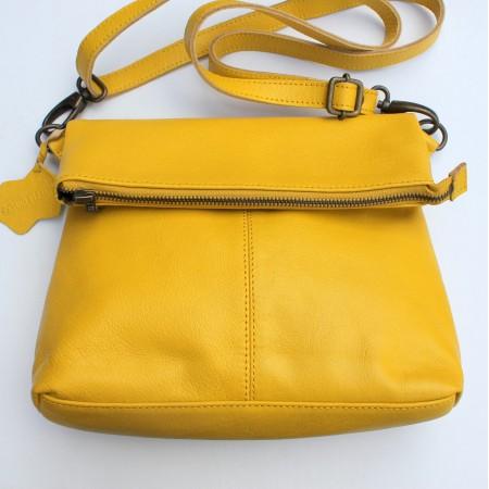Mini Amelie Yellow Leather Foldover Bag