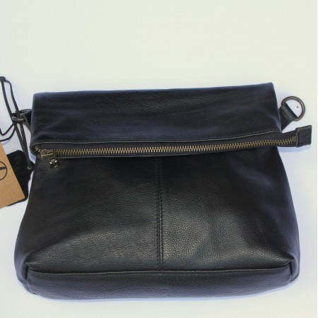 Mini Amelie Foldover Black Waxy Leather Bag