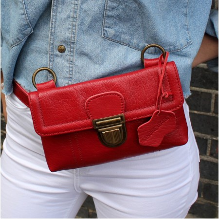 Jilly Mini Red Leather Hipbag