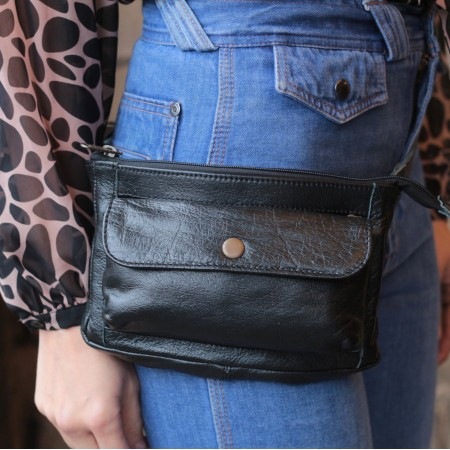 Neus Bumbag Black Leather