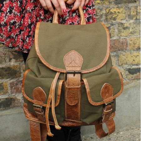 Canvas & Leather Olive and Tan Rucksack