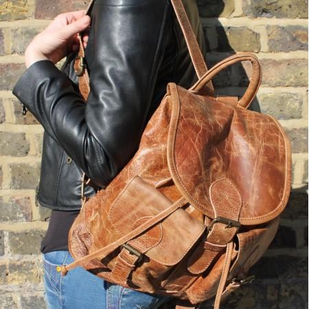 Rucksack Large Tan Scrunchy Leather