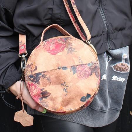 Rupert Round Bag N14 darkish floral print leather