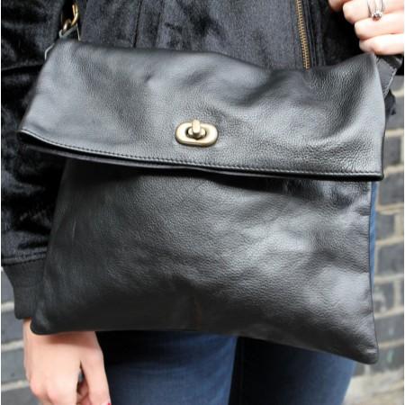 Russian Foldover Bag Black Leather