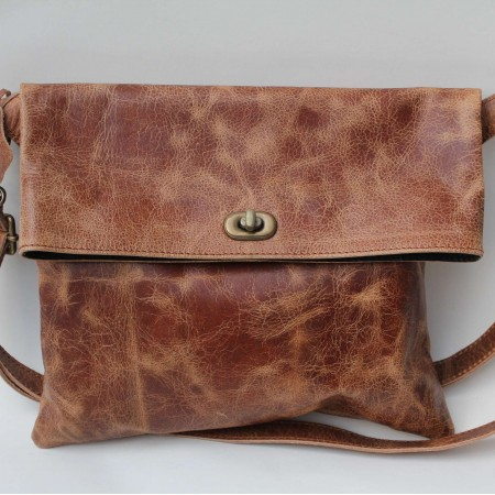 Russian Flapover Foldover Bag Tan Scrunchy Leather