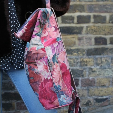 Belgian Convertible Rucksack French Floral Print Leather