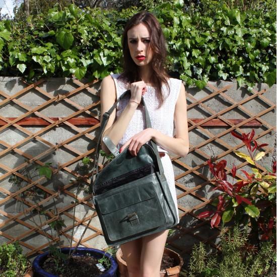Satchel Single Buckle Charcoal Leather