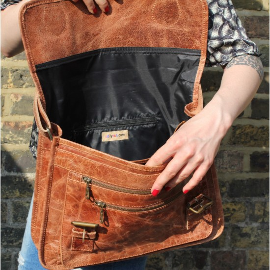 Satchel Double Buckle Tan Scrunchy Leather