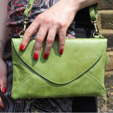 Sligo Clutch Bag Apple Green Leather