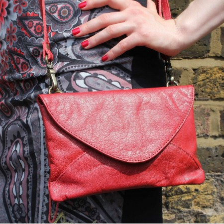 Sligo Clutch Bag Red Leather