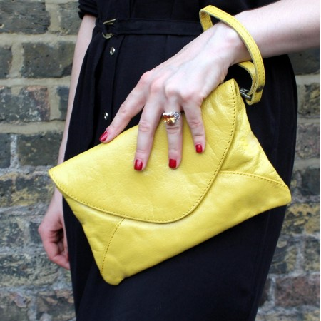 Sligo Clutchbag Yellow Leather