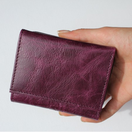 Trifold Small Leather Wallet Purple
