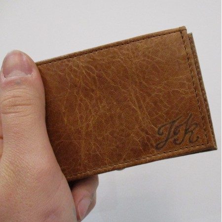 Tiny Wallet Tan Embossed