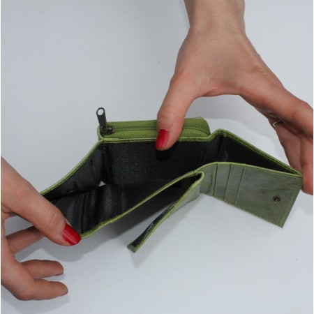 Apple Green Leather Trifold Wallet