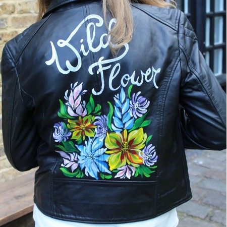 Biker Jacket Leather Hand-painted Wild Forest Flowers