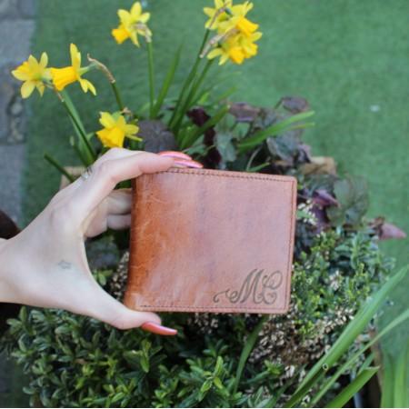 Tan Medium Size Wallet Embossed