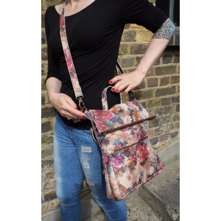 Amelie Backpack Convertible NO 14 Floralprint Leather