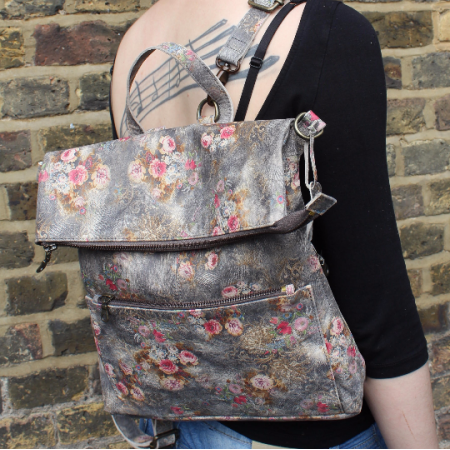 Amelie Backpack Convertible Floralprint no 21 Leather