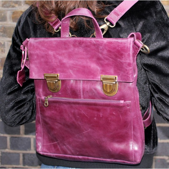 Amelie Convertible Clipped Backpack Purple Leather