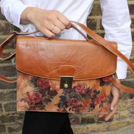 American-Funky Floral Crossbody Satchel Leather