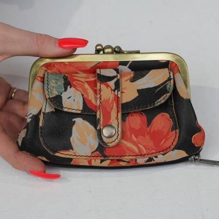 Amy Double Ballclip Spanish Floralprint Leather Purse