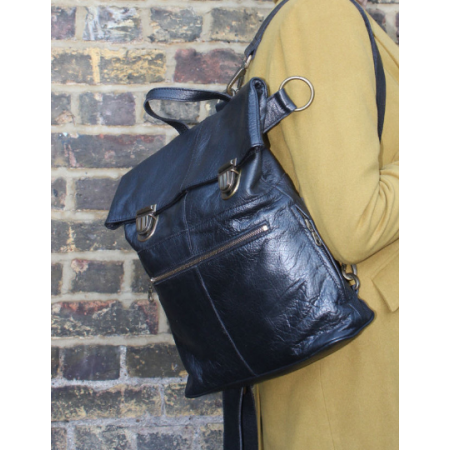 Belgian Convertible Clip Backpack Black Leather