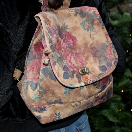 Barcelona Small Rucksack N14 Floral Leather