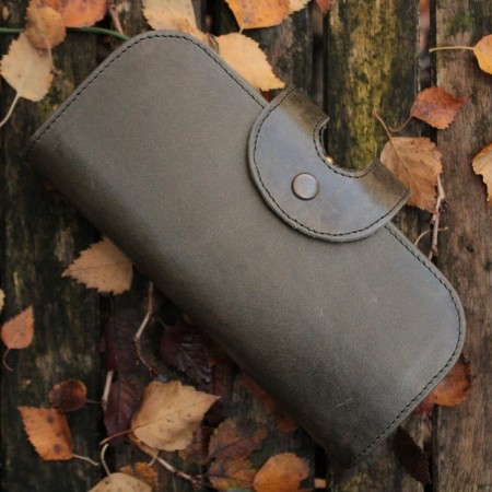 Big Fat Ex Large Wallet Charcoal Olive Leather
