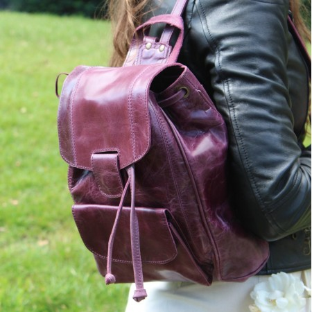 Small Cool Rucksack Purple Leather