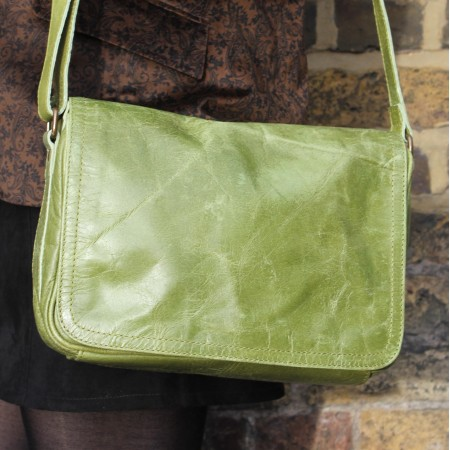 Denise Apple Green Leather Organizer Bag Leather