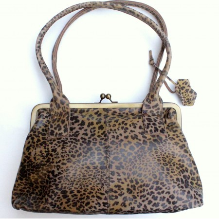 Doris Shoulder Bag Clipframe Dark Leopard Print Leather