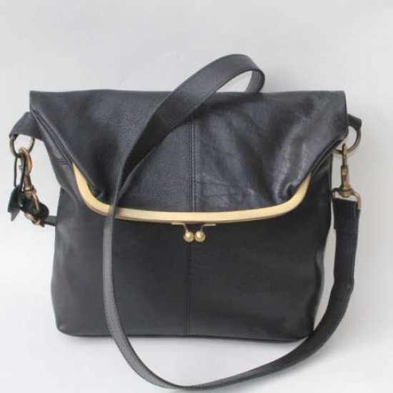 Dublin Large Clip Bag Black Leather