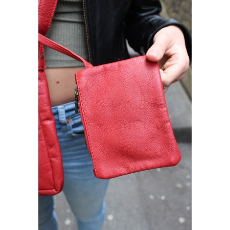 Envelope Messenger Small Red Twister Lock Bag Leather