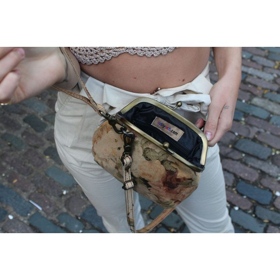 Evanna Clip And Clutch Bag Very Dark Floral Leather Small
