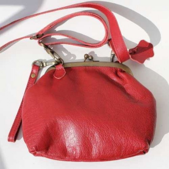 Evanna Large Red Clip and Clutch Bag