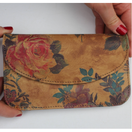 German Wallet English Garden Floral Leather