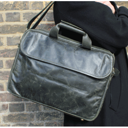 Laptop Bag Berlin In Olive Green Leather
