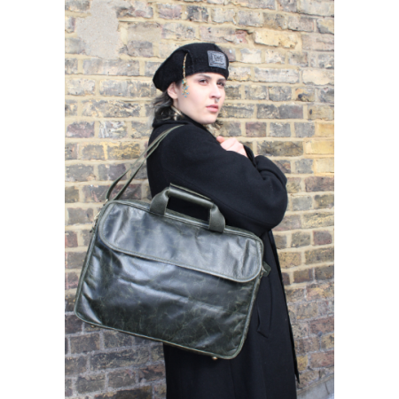 Berlin Laptop Bag Briefcase Olive Green Leather