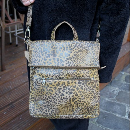 Amelie Convertible Backpack Leopardprint Leather