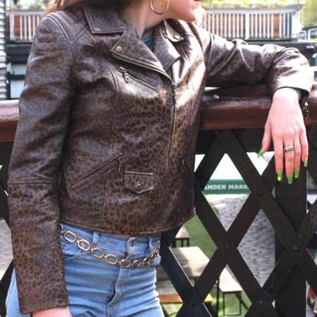 Biker Jacket Leather in Dark Leopard print