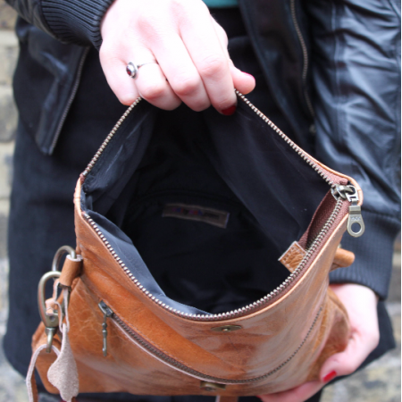 Mini Amelie Flapover Bag in Vintage Tan Leather