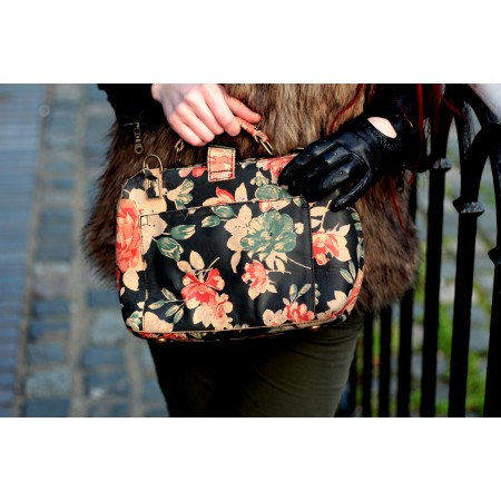 Doctor Bag Small Black Floral Leather