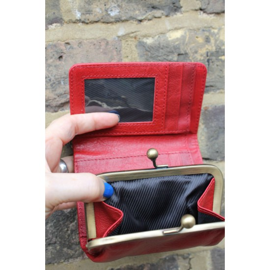 Evanna Small Clipframe Wallet Red Leather