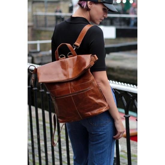 Belgian Rucksack Tan Scrunchy Leather