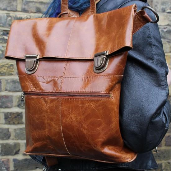 Belgian Convertible to Bag Rucksack Tan Smooth Leather Pushlock