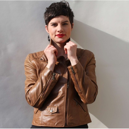 Biker Jacket Dark Tan Leather