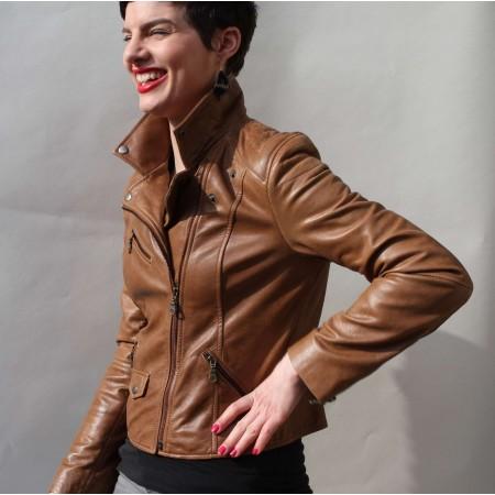 Biker Jacket Dark Tan Leather