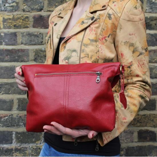 Dublin Medium Flapover Crossbody Bag Red Leather