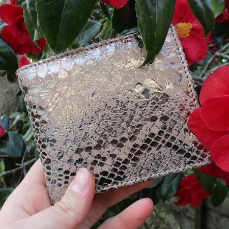 Alberta Metallic Tan Snake Leather Wallet Leather