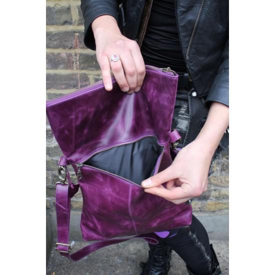 Amelie Crossbody Messenger Bag Purple Leather